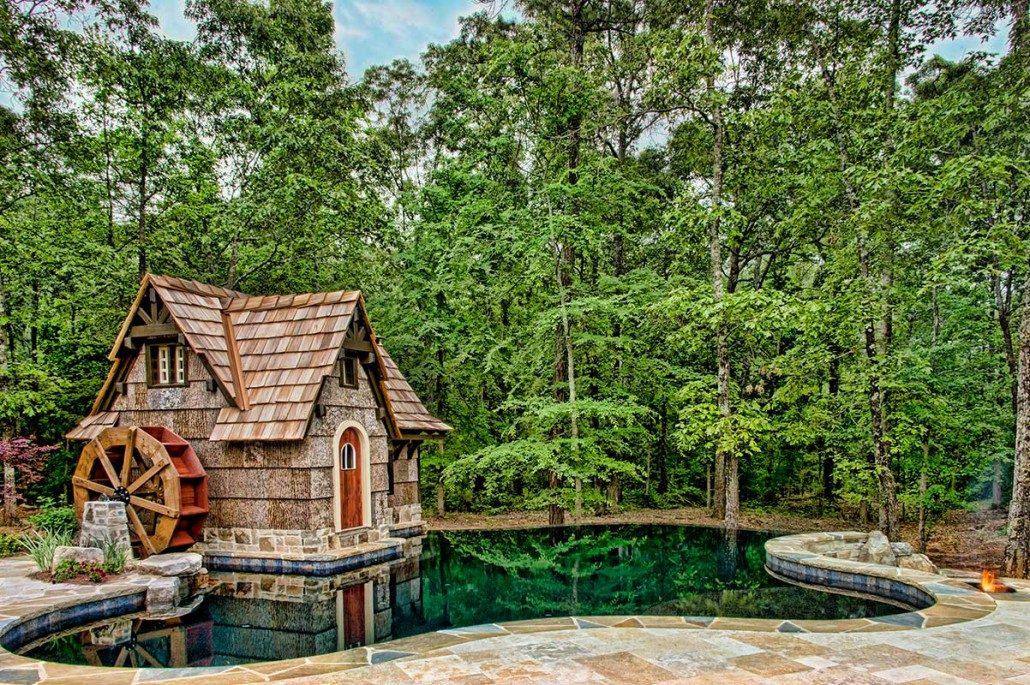 Faux Bark and Bark Siding | Waynesville | Bark Siding in Hendersonville | pool house with BarkClad Natural Poplar Bark