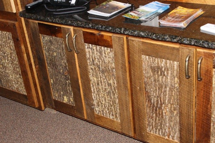 Bark Siding Asheville | Fake Bark Asheville | Faux Bark Hendersonville | Poplar Bark Interior Cabinets